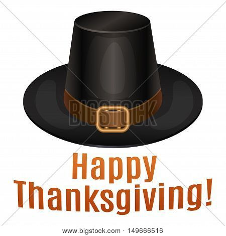 Happy Thanksgiving card poster background with piligrim hat. Vector illustration