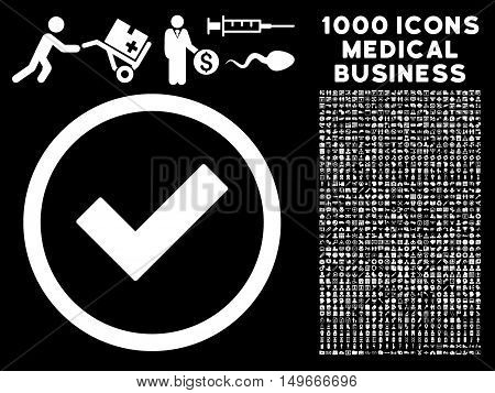 White Accept glyph rounded icon. Image style is a flat icon symbol inside a circle black background. Bonus set includes 1000 health care business design elements.