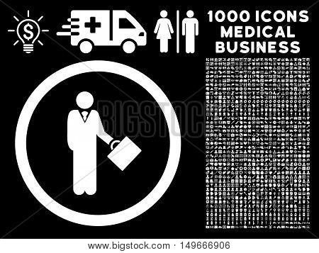White Businessman glyph rounded icon. Image style is a flat icon symbol inside a circle black background. Bonus clipart contains 1000 health care business design elements.