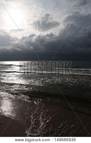 Seaside landscape with cloudd