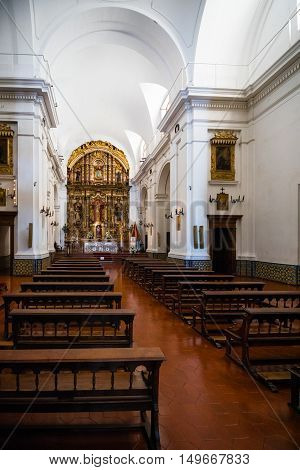 Buenos Aires Argentina - Sept 23 2016: Interior view of the the Church of Our Lady of the Pillar near the La Recoleta Cemetery in Capital Federal.