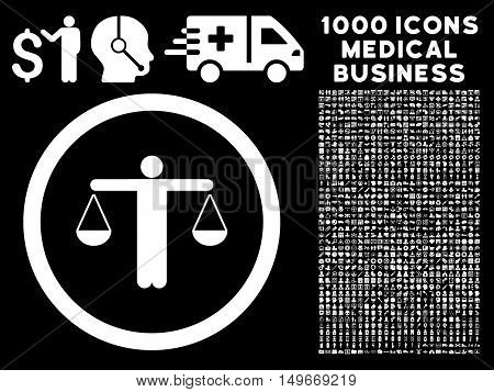 White Lawyer glyph rounded icon. Image style is a flat icon symbol inside a circle black background. Bonus clip art contains 1000 medical business elements.