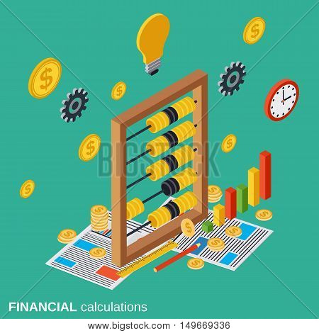 Financial calculations, budget planning, costs definition flat isometric vector concept illustration