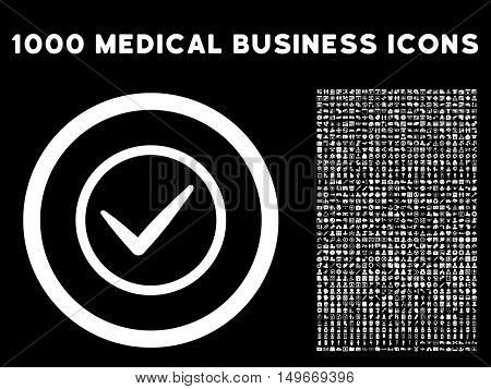 White Ok glyph rounded icon. Image style is a flat icon symbol inside a circle black background. Bonus clip art includes 1000 health care business elements.