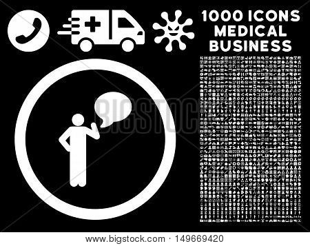 White Person Idea glyph rounded icon. Image style is a flat icon symbol inside a circle black background. Bonus set has 1000 health care business design elements.