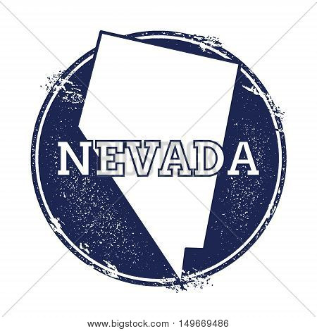 Nevada Vector Map. Grunge Rubber Stamp With The Name And Map Of Nevada, Vector Illustration. Can Be