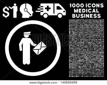 White Postman glyph rounded icon. Image style is a flat icon symbol inside a circle black background. Bonus set contains 1000 medicine business pictograms.