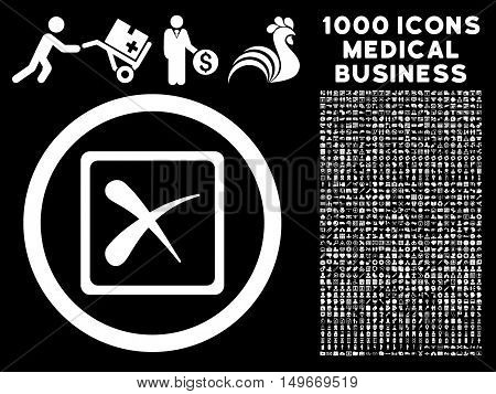 White Reject glyph rounded icon. Image style is a flat icon symbol inside a circle black background. Bonus set contains 1000 healthcare business pictograms.
