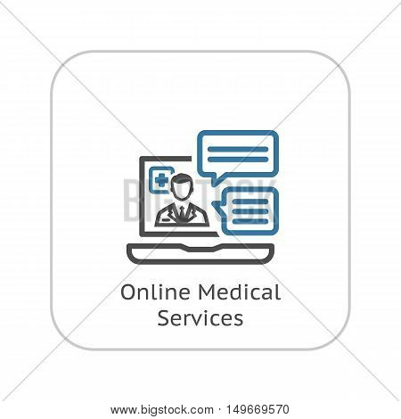 Online Medical Services Icon. Flat Design. Isolated Illustration. Laptop with online session where the doctor answers questions.