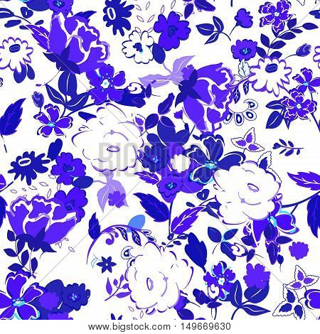 Vector illustration of floral seamless. Isolated hand drawn blue flowers with leafs on white background.