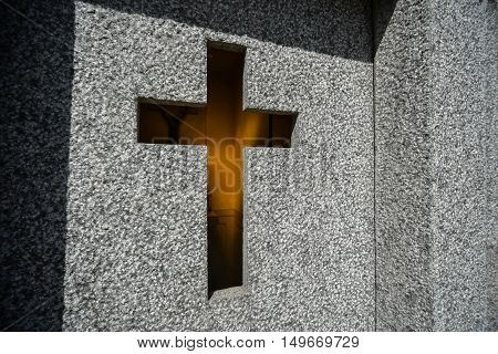 Buenos Aires Argentina - Sept 23 2016: Stonewall with a cross of a tomb at the La Recoleta Cemetery in Capital Federal.