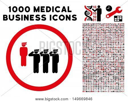 Intensive Red And Black Army Squad glyph bicolor rounded icon. Image style is a flat icon symbol inside a circle white background. Bonus clip art has 1000 medicine business design elements.