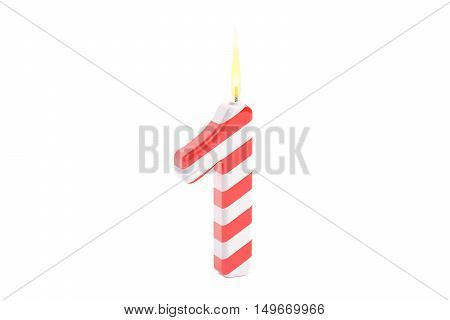 First Birthday Candle 3D rendering isolated on white background