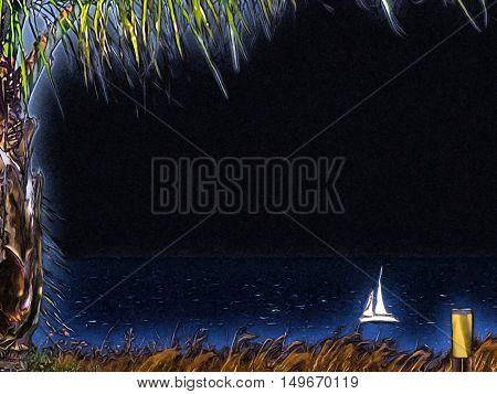 White Sailboat In The Sea. Illustration