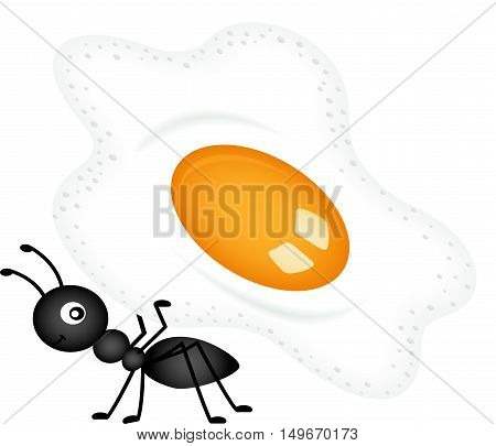 Scalable vectorial image representing a ant carrying a fried egg, isolated on white.
