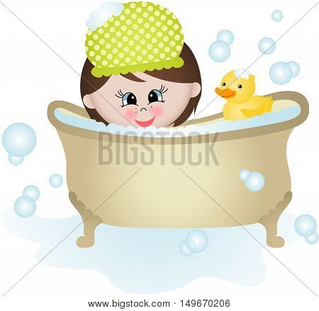 Scalable vectorial image representing a little girl taking a bath, isolated on white.