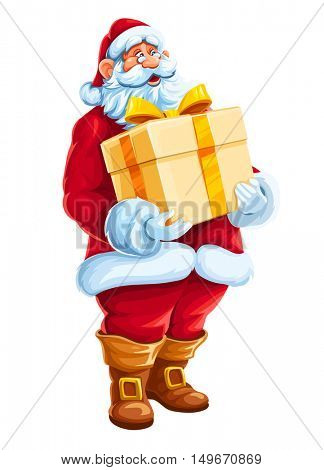 Christmas Santa Claus man with big gift in hands. Merry character the red holiday suit holding box golden bow of ribbon. Vector illustration. Isolated white background