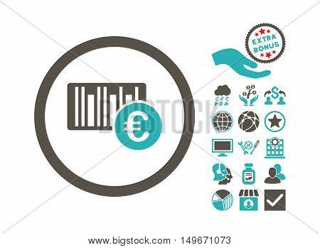 Euro Barcode pictograph with bonus pictogram. Vector illustration style is flat iconic bicolor symbols, grey and cyan colors, white background.