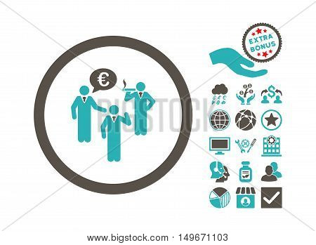Euro Discuss Persons pictograph with bonus pictogram. Vector illustration style is flat iconic bicolor symbols, grey and cyan colors, white background.