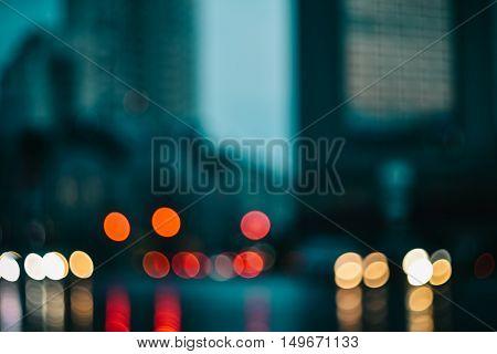 Blurred evening city car lights background instagram effect