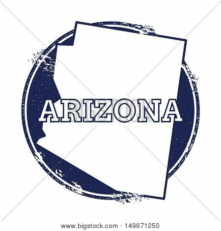 Arizona Vector Map. Grunge Rubber Stamp With The Name And Map Of Arizona, Vector Illustration. Can B