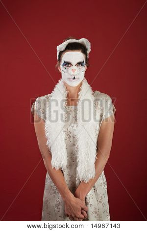 Woman In Cat Facepaint