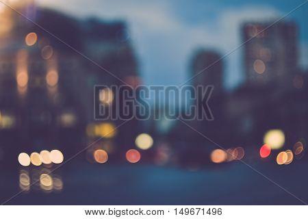 Blurred evening city street car lights background