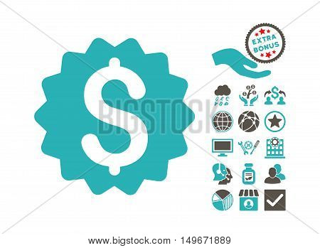 Financial Reward Seal pictograph with bonus design elements. Vector illustration style is flat iconic bicolor symbols, grey and cyan colors, white background.