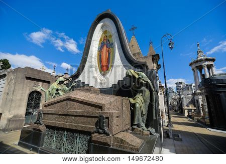 Buenos Aires Argentina - Sept 23 2016: View of a tomb with mosaic at the La Recoleta Cemetery in Capital Federal.