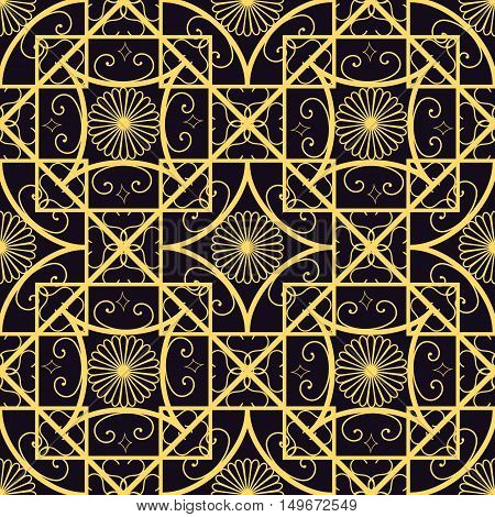 Vector seamless geometrical pattern in purple and gold colors