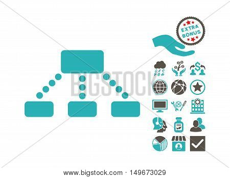 Hierarchy icon with bonus images. Vector illustration style is flat iconic bicolor symbols, grey and cyan colors, white background.