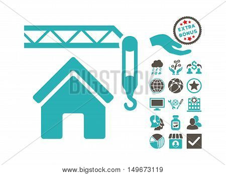 Home Construction pictograph with bonus pictograph collection. Vector illustration style is flat iconic bicolor symbols, grey and cyan colors, white background.