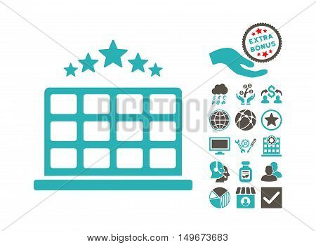Hotel Stars pictograph with bonus pictograph collection. Vector illustration style is flat iconic bicolor symbols, grey and cyan colors, white background.