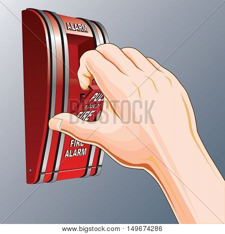 Fire Alarm is an illustration of a hand reaching and pulling a red fire alarm switch.