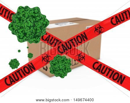 Virus Infected Package Behind Caution Biohazard Tape 3D Illustration
