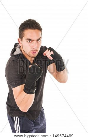 tough hispanic man martial arts fighter wearing black t-shirt isolated on white