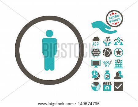Man pictograph with bonus pictograph collection. Vector illustration style is flat iconic bicolor symbols, grey and cyan colors, white background.
