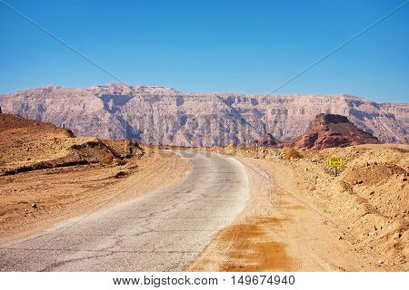 Road running through Timna National Park in the Negev Desert near to Eilat in Israel.