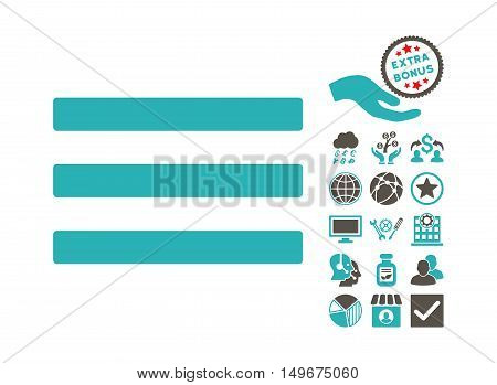 Menu icon with bonus pictogram. Vector illustration style is flat iconic bicolor symbols, grey and cyan colors, white background.