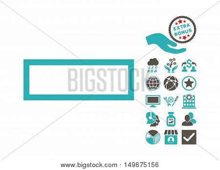 Minus icon with bonus pictogram. Vector illustration style is flat iconic bicolor symbols grey and cyan colors white background.