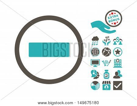 Minus pictograph with bonus pictograph collection. Vector illustration style is flat iconic bicolor symbols grey and cyan colors white background.