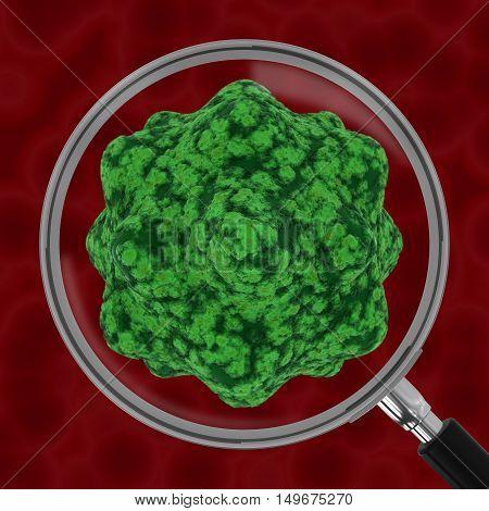 Virus On Blood Red Blurred Background Under Magnifying Glass 3D Illustration