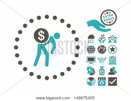 Money Courier pictograph with bonus pictogram. Vector illustration style is flat iconic bicolor symbols grey and cyan colors white background.