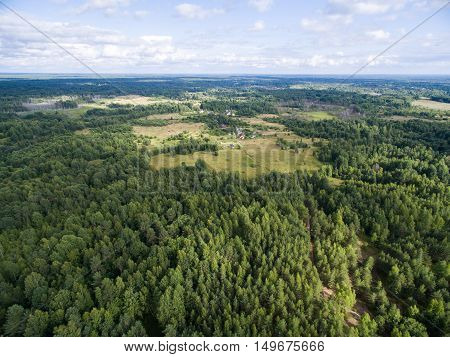 Aerial view of green field with forest at summer time