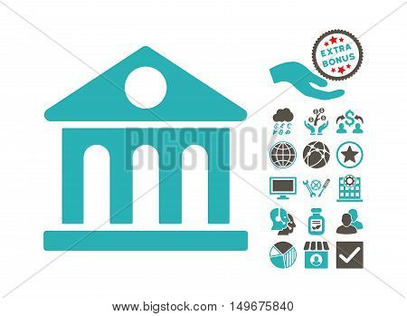 Museum Building icon with bonus pictogram. Vector illustration style is flat iconic bicolor symbols, grey and cyan colors, white background.