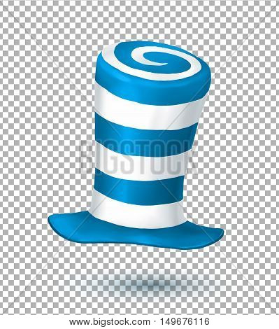 Blue and white colors striped realistic vector crazy carnival hat isolated on transparency grid background