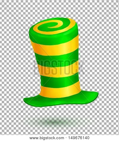 Green and yellow colors striped realistic vector crazy carnival hat isolated on transparency grid background