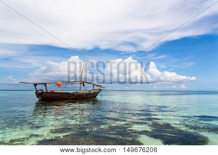 Fisherman boat. Tropical seascape, Zanzibar Island, Tanzania