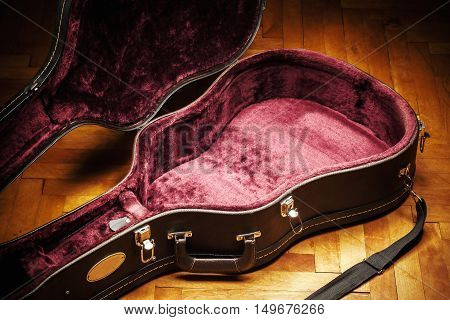 Interior Of A Suitcase For Guitar