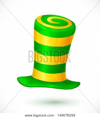 Green and yellow colors striped realistic vector crazy carnival hat